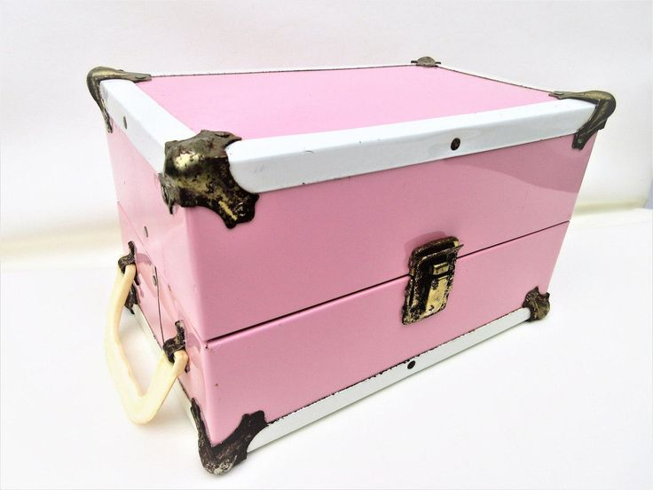 Vintage Doll Trunk | Metal Chest | Travel Trunk | 1950s Toys by WhimzyThyme on Etsy #dolltrunk #pinktrunk #pinksuitcase