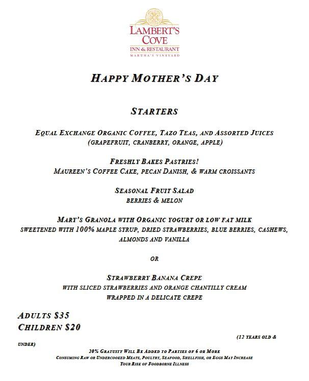 Mother's Day Brunch Starters!  Lambert's Cove Inn & Restaurant, Martha's Vineyard Island. MA