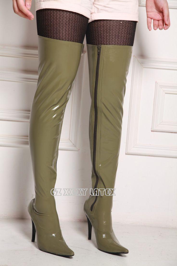 Stiletto Spike Heel Unisex Latex Chap Boots Gummy Stiefels