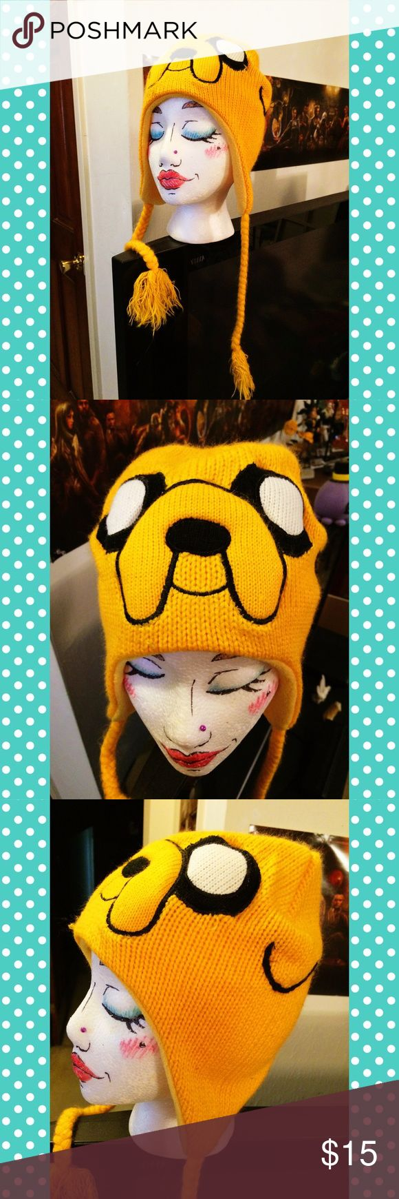 Adventure Time Jake the Dog Hat This hat has the face of Jake the Dog from Adventure Time! It's super cute and comfy, and can stretch to fit anyone's head. It's been worn maybe once. Make me an offer 😊 Adventure Time Accessories Hats