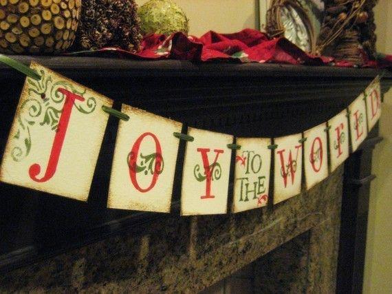 Banner Navidad alegría al mundo guirnalda por bekahjennings en Etsy, $19.00