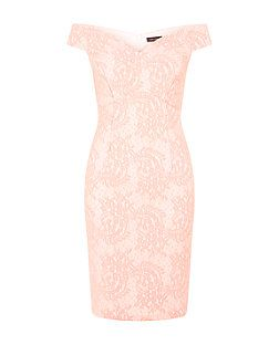 Make like a 50s movie star in this Coral Lace Bardot Neck Dress.