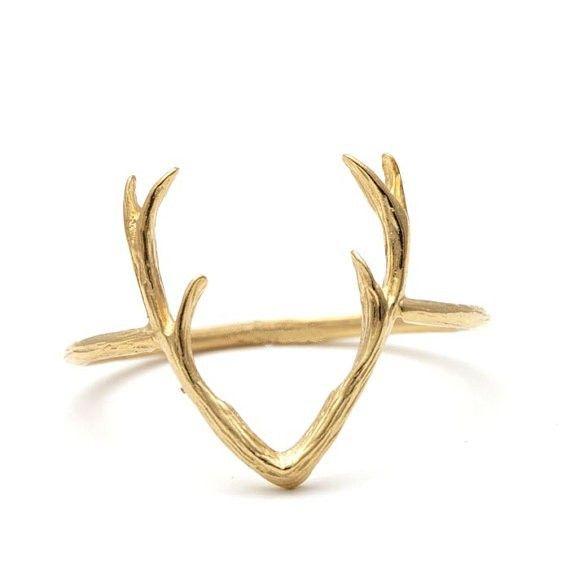 Simple Deer Antler Ring Stag Reindeer Horn rings Cute Animal Ring for Women Christmas Gifts 10pcs-R136
