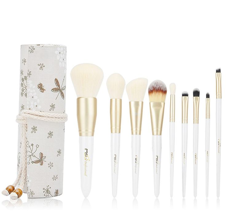 MSQ Makeup Brush Set 9pcs Professional Cosmetic Brushes with Linen Makeup bag, Soft Synthetic Hair for Foundation, Powder, Bronzer, BB Cream, Blush, Eyeshadow, Eyebrow, Lip - White & Gold. PROFESSIONAL MAKEUP BRUSHES SET: The makeup brush set includes foundation brush, powder brush, bronzer brush, blush brush,eye shadow brush, Eyebrow brush,lip brush. Perfect for liquid, powder or cream to produce a beautiful face and eye makeup application. ELEGANT COTTON & LINEN MAKEUP BAG: Elaborate...