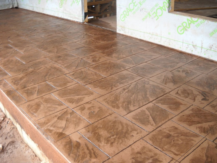 Nice Porch Area With Large Ashlar Slate Pattern · StampfbetonDekorativer  BetonSchiefer