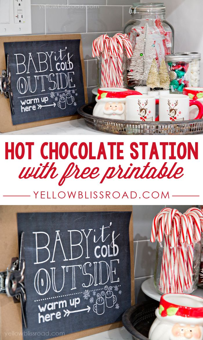 Free Printable Hot Chocolate Station (Maybe I should hit up the thrift stores for Christmas mugs.)