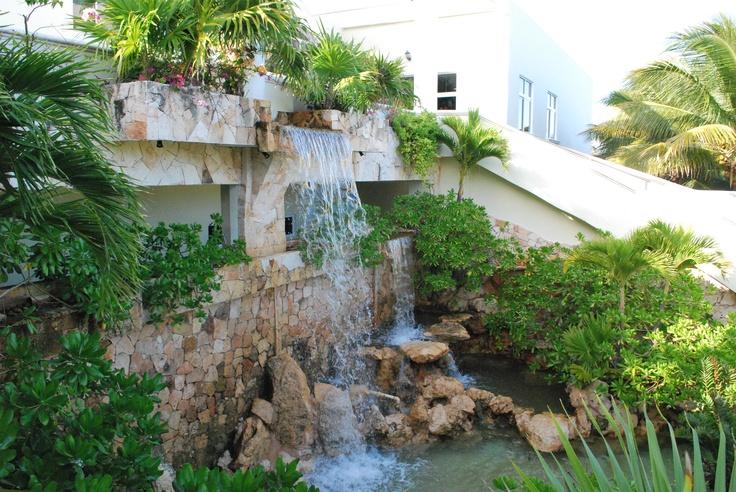 El Dorado Royale, waterfall feature on the back of lobby {El Dorado Spa Resorts, by Karisma}