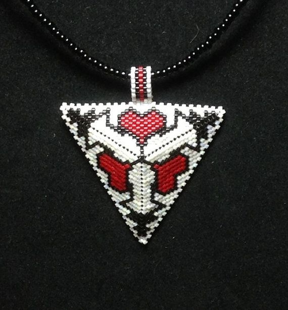Black White and Red Heart Triangle Choker by DoubleACreations