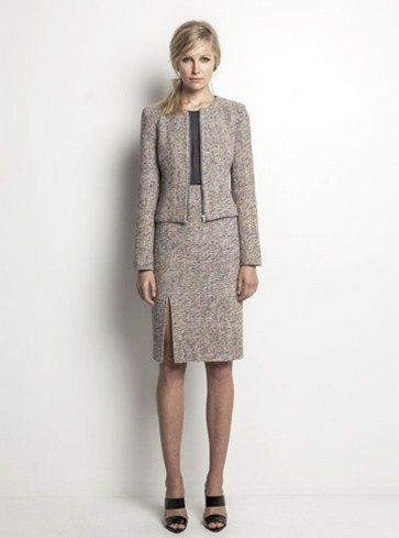 Helen Cherry Silk Tweed Jacket (Ecru), Maisie Blouse (Blue Smoke) & Julianne Skirt (Ecru) #HelenCherry