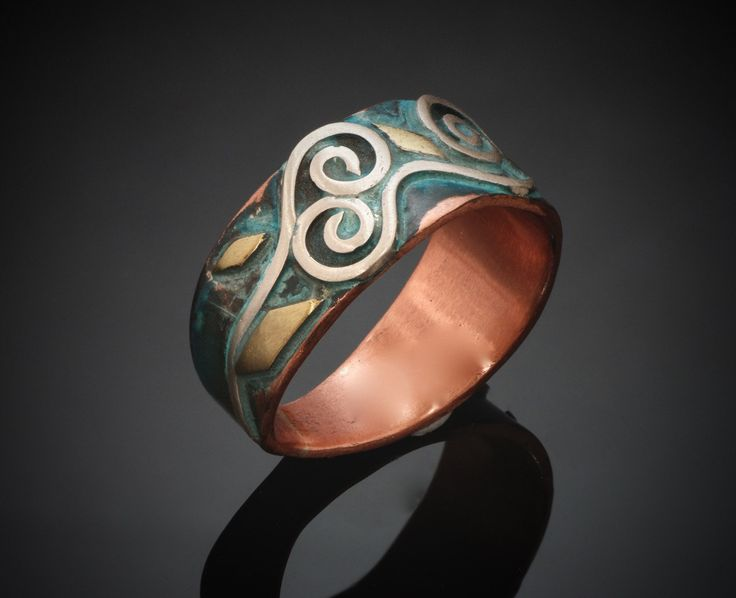 Copper Silver Brass Ring - Oxidized Blue Patina - Spirals Waves - Unusual Copper Ring - Copper Silver Fusion - Handmade in BC Canada by Fullmoonjoolz on Etsy