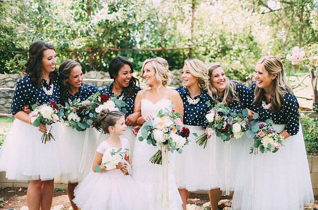 No matter what your bridesmaids wear on top — these shirts were from Target! — a poufy tulle skirt will add a dose of fancy, princess-like flair. Source: Dawn Alexandra
