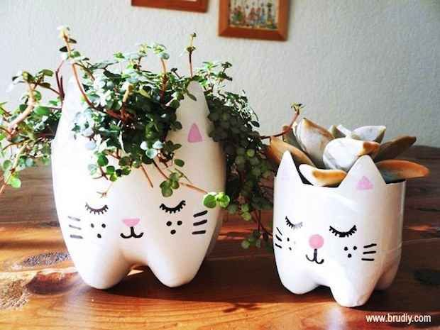 These adorable planters are made from recycled soda bottles.
