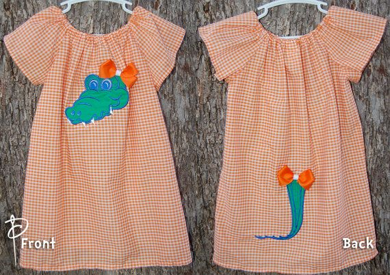 Florida Gators Peasant Dress with Tail & Bows 3 6 9 12 18 month size 2t 3t 4t 5 6