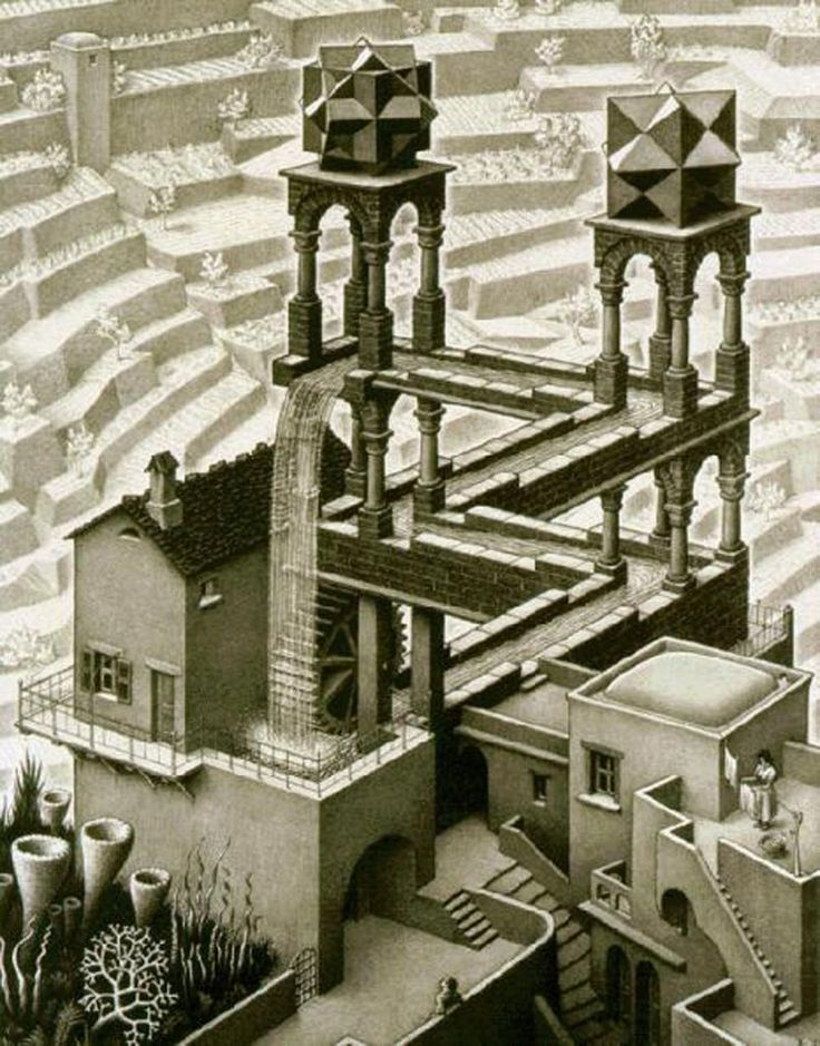 @filmmakeriq: Check out this optical illusion that brings an #Escher Waterfall #painting to life.