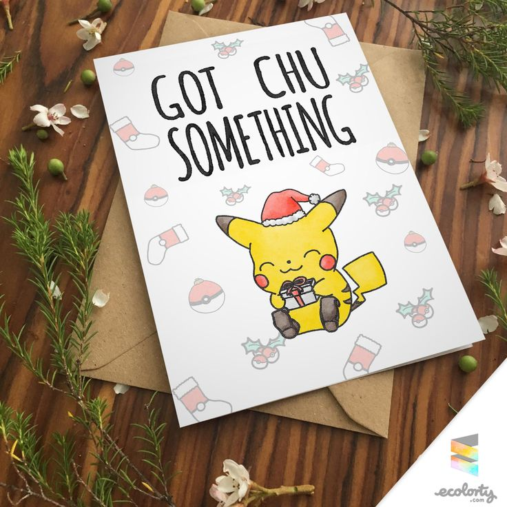 PIKACHU CHRISTMAS CARD Love Pokemon go greeting card | I choose you | Nerd Couple Present Cute | Chibi Drawing Art Xmas Santa Boxing Gift Elves Watercolor Santa for boyfriend for girlfriend | Printable | Kawaii | Download or Printable  by ecolorty on Etsy