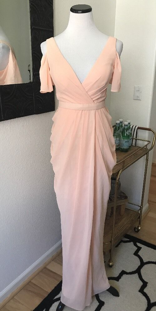 Lulus Bariano Designer Peach Pink Bridesmaid Gown Maxi Dress Formal Party Small   eBay