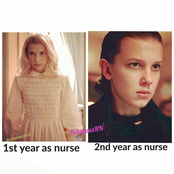 1st year as a nurse vs. 2nd year as a nurse.