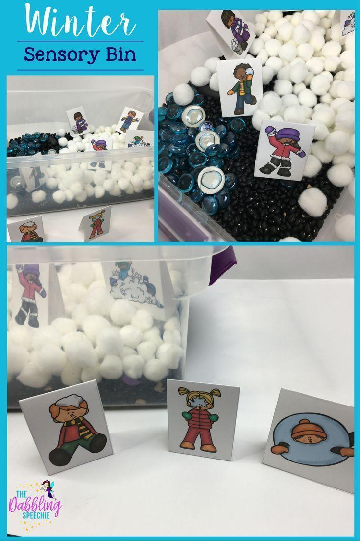 winter sensory bins with this fun free printable!