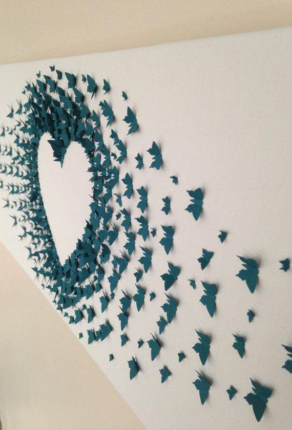 custom handmade 3D paper butterfly canvas by FLYBYBUTTERFLYUK