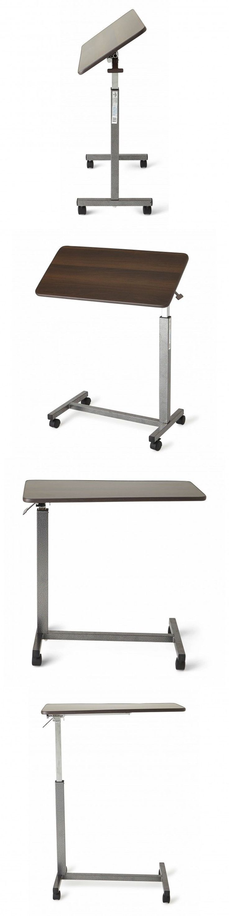 Overbed table food tray non tilt top bed hospital adjustable rolling - Bed And Chair Tables Over The Bed Table Rolling Adjustable Tilt Hospital Cart Tray Bedridden