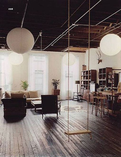 I would love to buy a building with exposed, strong, wooden beams in the ceiling. Indoor swings just seem wonderful.