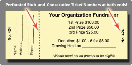 Raffle Tickets for Sale for non-profit organizations Custom Raffle Ticket Printing