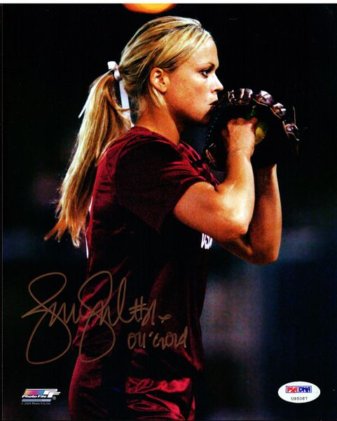 This is an 8x10 photo that has been hand signed by Jennie Finch. It has been authenticated by PSA/DNA and comes with their sticker and matching certificate.