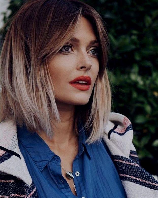 Blonder Schatten Für Kurzes Haar Glatt Schöne Formung Schöne Frau