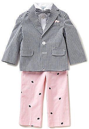 Class Club Little Boys 2T-7 Gingham 4-Piece Suit Set