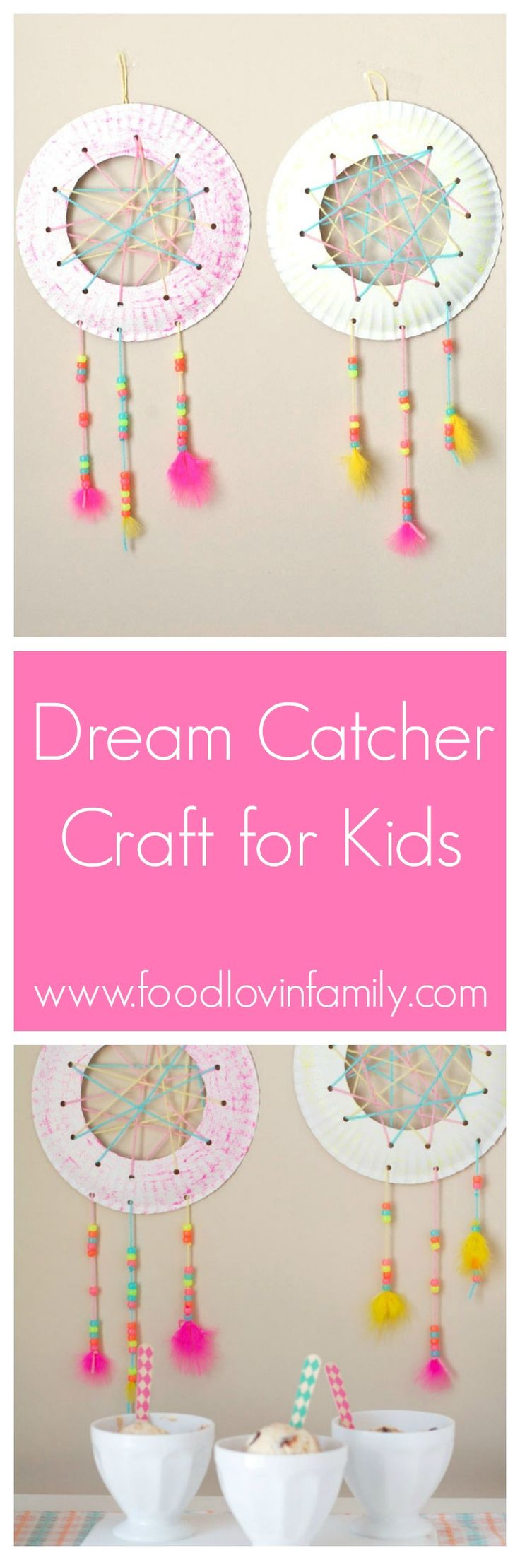 Dream Catcher Craft for Kids This dream catcher is sure to help your kids have the sweetest of dreams. #ad #SweeterTogether | http://www.foodlovinfamily.com/dream-catcher-craft-kids/
