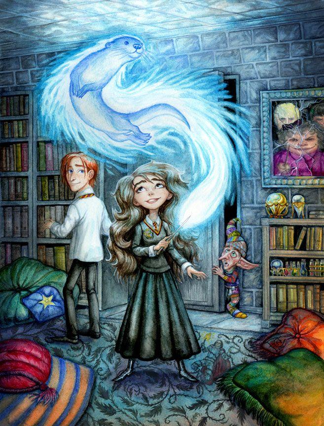 Hermione's Patronus Charm by http://feliciacano.deviantart.com/art/Hermione-s-Patronus-Charm-259374792