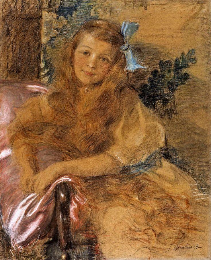 Pastel portrait of girl by Teodor Axentowicz, ca. 1905 (PD-art/70), Muzeum Śląskie w Katowicach