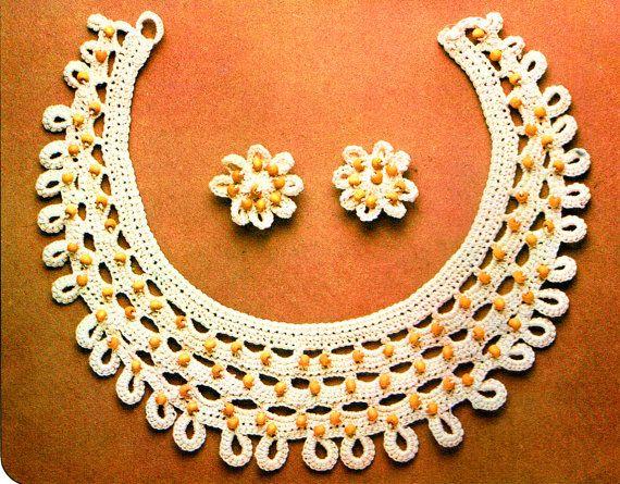PDF Vintage 1970s 'Golden Hands' Lacy Beaded Necklace & Earrings Set Crochet Pattern...Kitsch, boho, groovyx