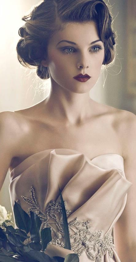Vintage is definitely in! Such gorgeous hair and makeup, perfect for your wedding!