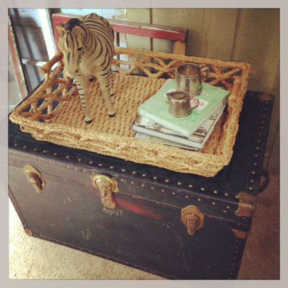 Steamer Trunk, Vintage Decor, Antique Coffee Table