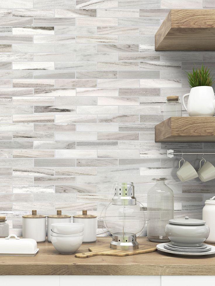 Modern White Gray Subway Marble Backsplash Tile