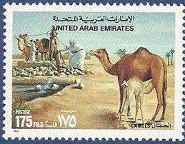 Stamp: Dromedary (Camelus dromedarius) (United Arab Emirates) (Camels) Mi:AE 395,Sn:AE 404