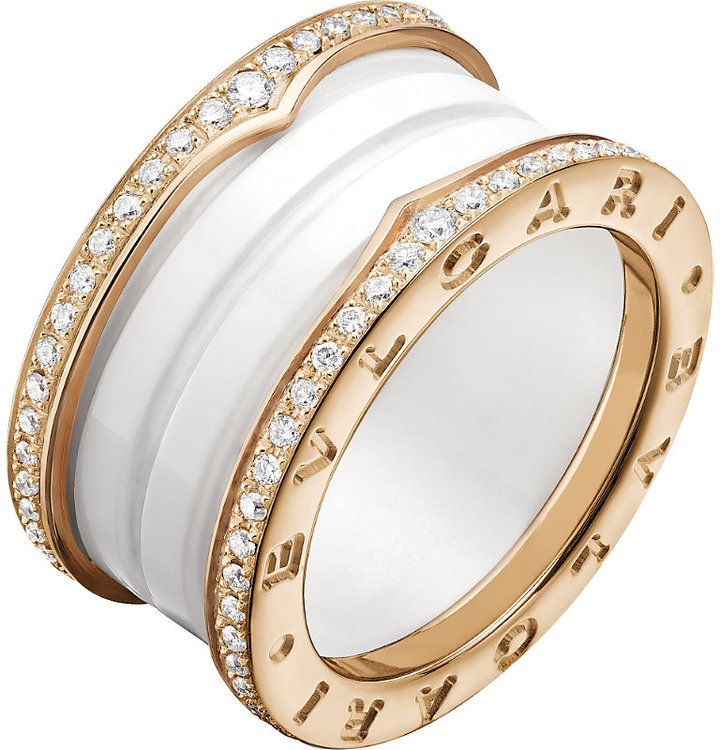 bvlgari bzero1 fourband 18kt pinkgold white ceramic and diamond ring
