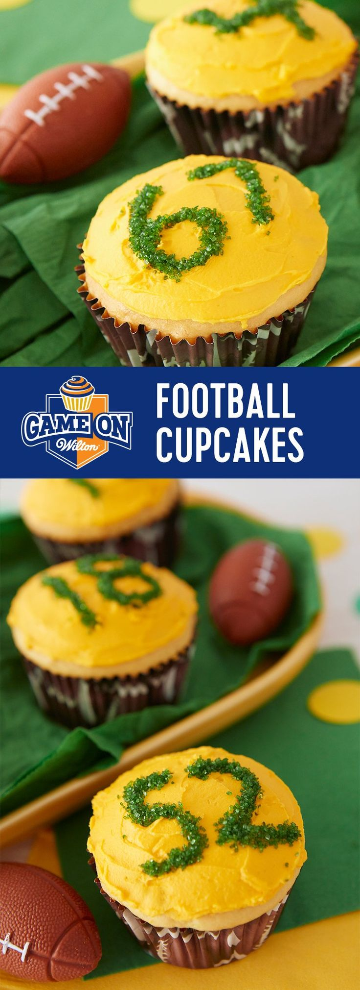 Colorful cupcakes made to match your team's favorite colors make great tailgating treats. Add player's numbers easily with the Wilton Sugar Writer™ Sanding Sugar Pen and Sanding Sugars!