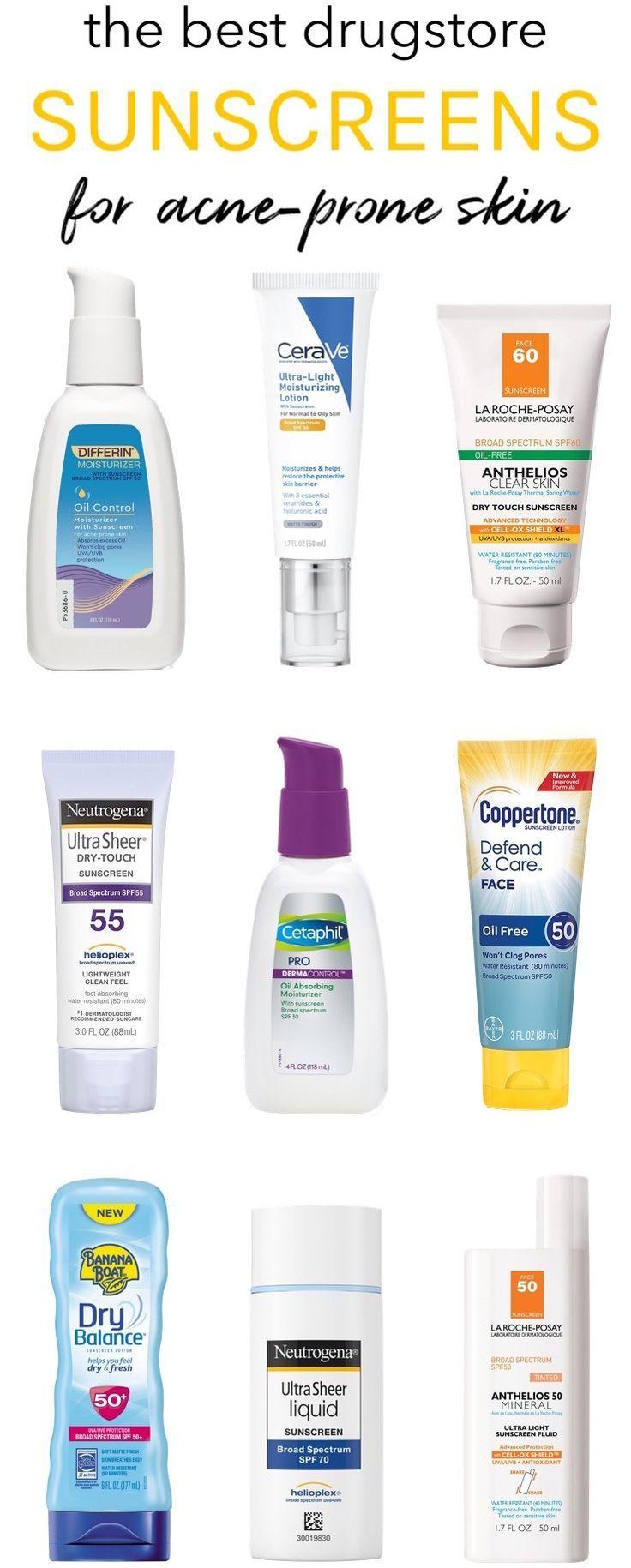 Best Drugstore Sunscreens For Acne Prone Skin Breakouts Be Gone Best Drugstore Sunscreen Acne Prone Skin Oily Skin Care