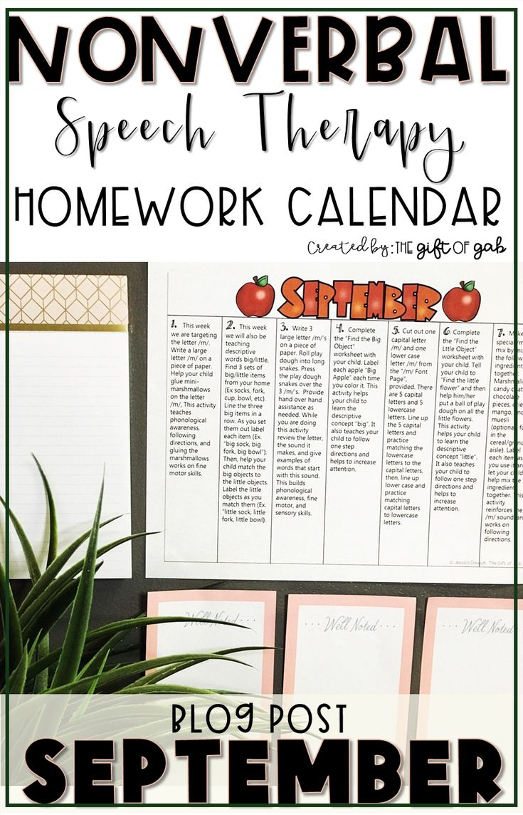 This blog post for speech language pathologists and special educators describes a homework activity calendar for nonverbal or limited students.