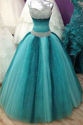 Custom Made Colored Tulle Turquoise Crystal Ball Gown Prom Quinceanera Dresses