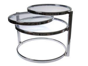 Table basse ronde en verre et métal modulable Duo collé motif et transparents de couleurs