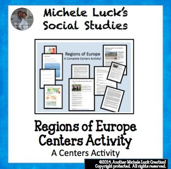 This is a complete centers activity for a study on the regions of Europe.  At each center, students will read factual information on the region, view maps and discover physical features and statistics, view images from the region on cultural and human characteristics,and read current articles on the regions of Europe (using internet links provided in teacher directions).