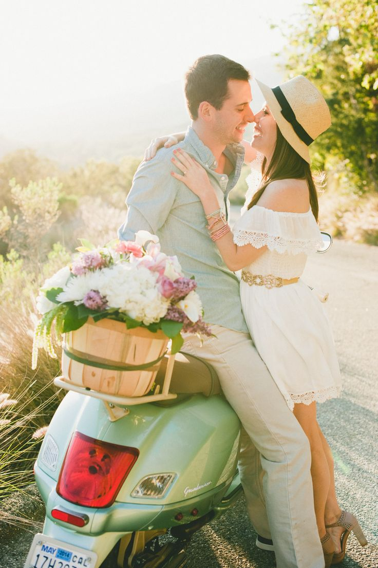 Mint Vespa e-sesh | Read More: http://www.stylemepretty.com/little-black-book-blog/2014/08/27/italian-vespa-engagement-in-santa-barbara/ | Photography: Onelove Photography - onelove-photo.com