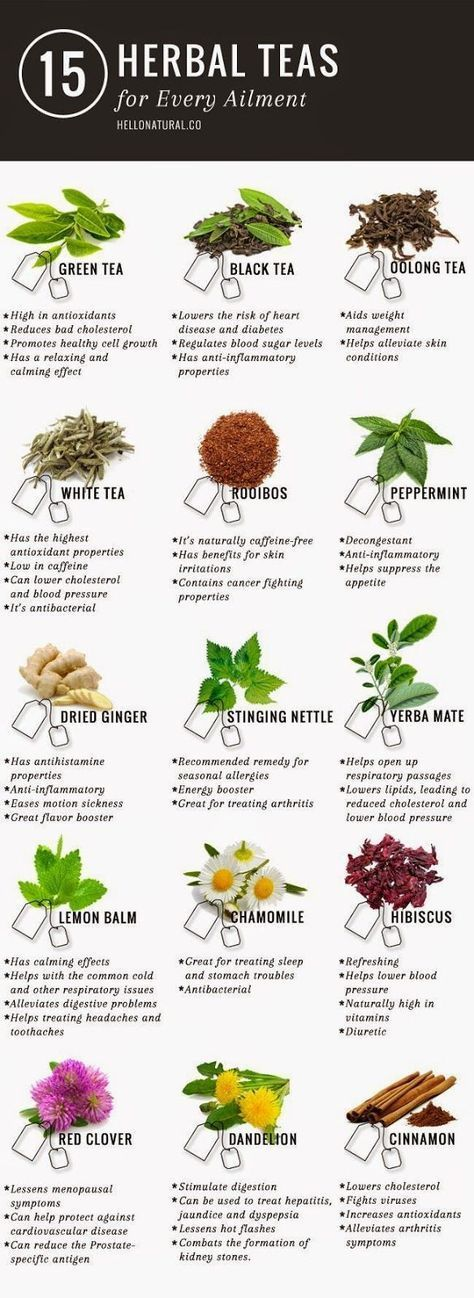 """Green tea is not the only tea with promising (and according to many sources, PROVEN) health benefits. This infographic illustrates and describes 14 other healing herbal teas. <a href=""""http://www.detoxmetea.com"""" rel=""""nofollow"""" target=""""_blank"""">www.detoxmetea.com</a> www.detoxmetea.co..."""