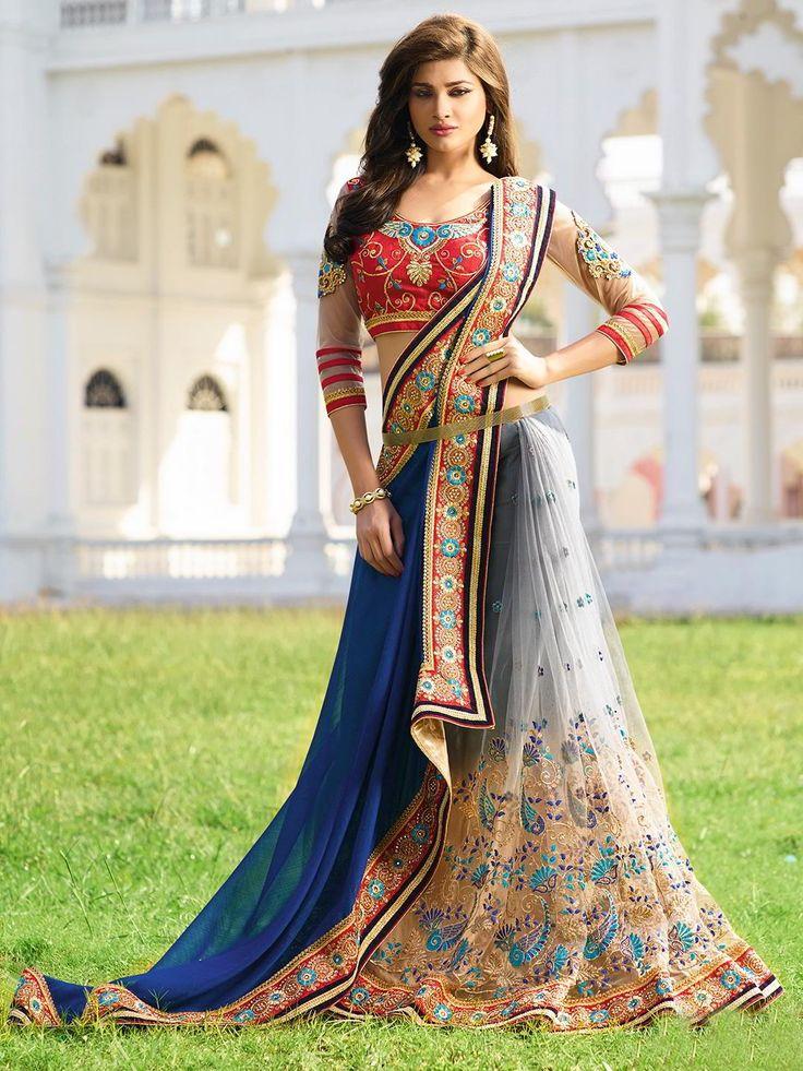 Cерое c синим красивое индийское сари, украшенное вышивкой скрученной шёлковой нитью