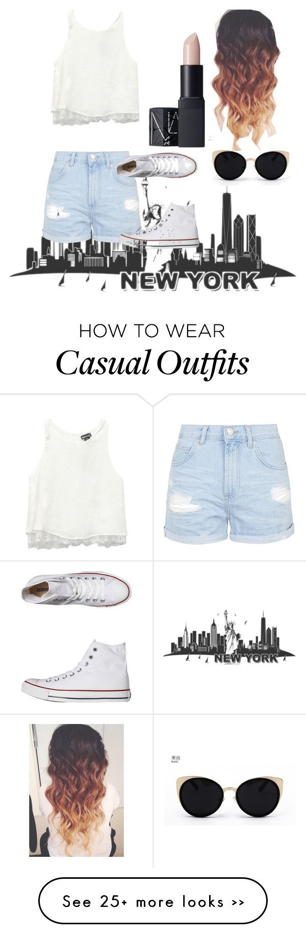 """""""New York casual"""" by anjatyson on Polyvore featuring Topshop, Converse, NARS Cosmetics, Wet Seal and Una-Home"""