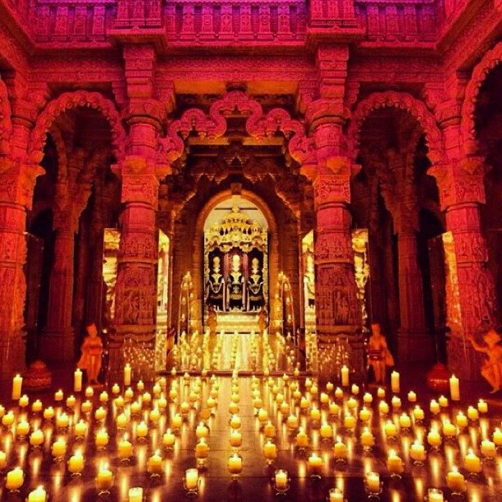 Diwali - Hindu Festival of Lights, occurs between the months of October and November. Not only celebrated in India but Worldwide. Pray to God to remove evil (darkness) and provide enlightenment of Hindu spiritual knowledge (Lightness) - Hindu Festival of lights #India. This image is from BAPS Swaminarayan Temple, London, UK
