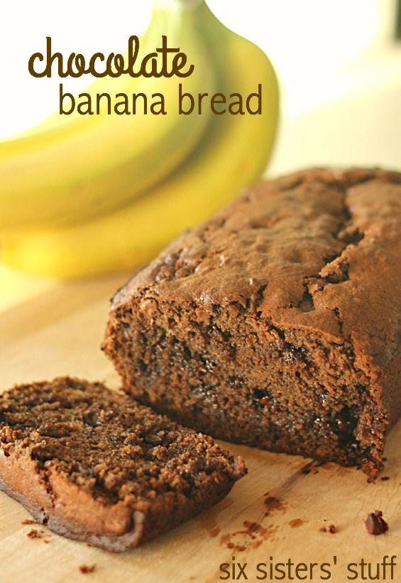 Chocolate Banana Bread on SixSistersStuff.com